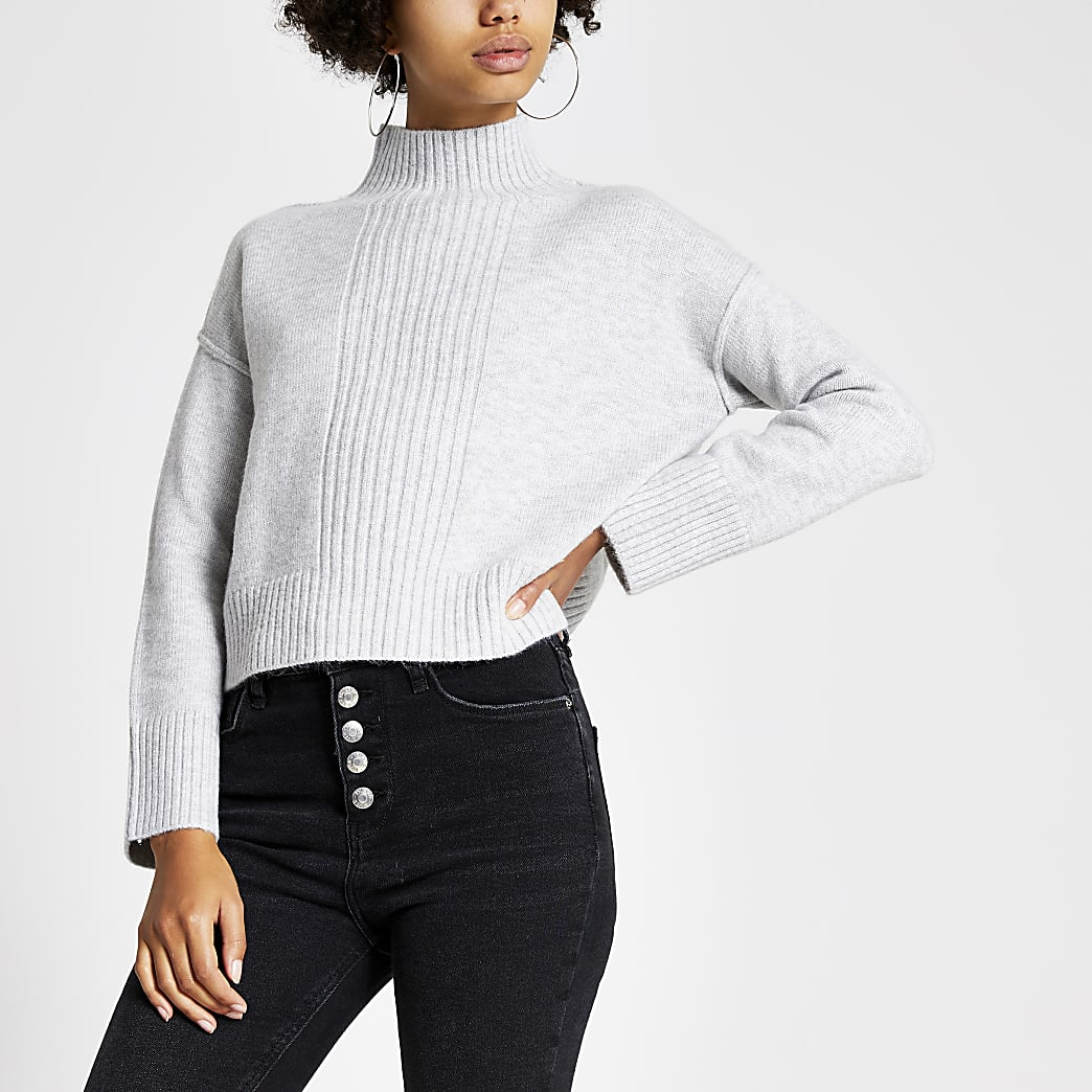 Grijze hoogsluitende gebreide cropped pullover