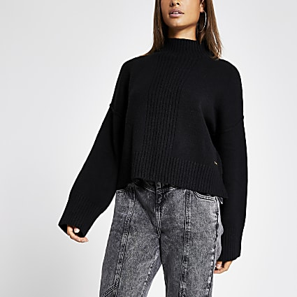 Black high neck cropped knitted jumper