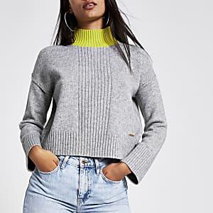 Grijze hoogsluitende gebreide cropped pullover met kleurvlakken