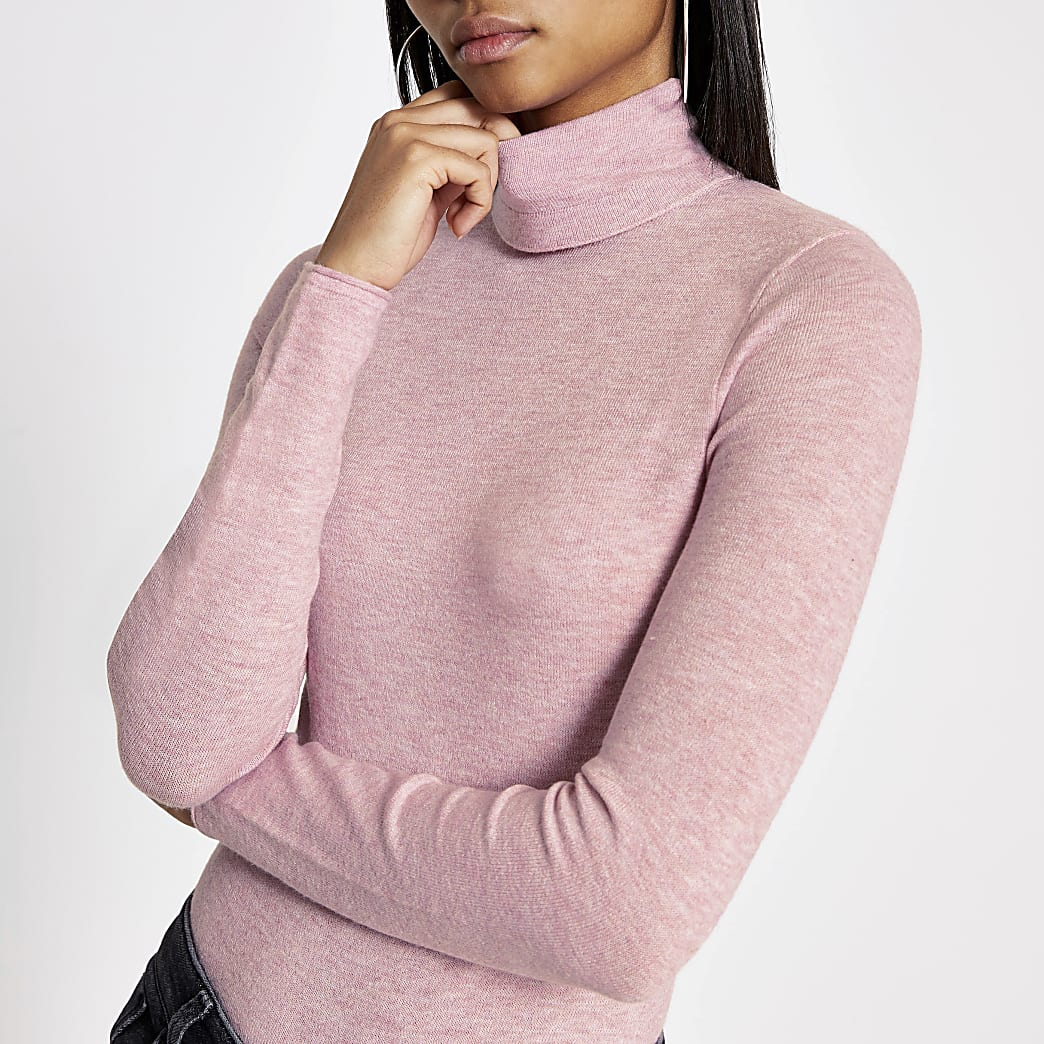 Pink long sleeve roll neck knitted top
