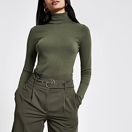 Khaki roll neck long sleeve knitted top