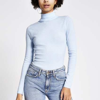 Blue long sleeve roll neck knitted top