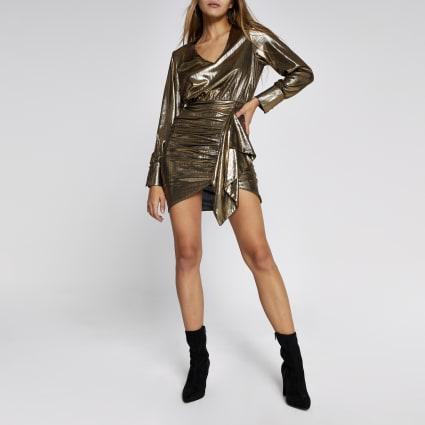 Gold metallic long sleeve ruffle mini dress