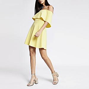 Yellow bardot skater dress