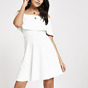 White bardot skater dress