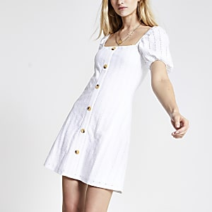 White broderie button puff sleeve dress