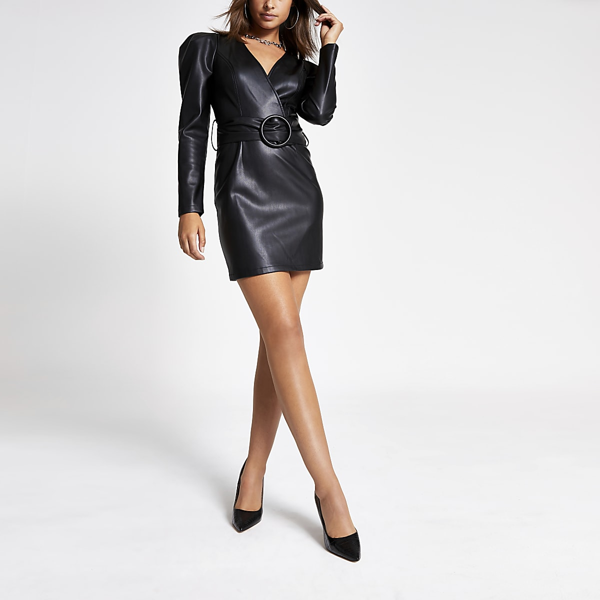 Black faux leather belted wrap dress