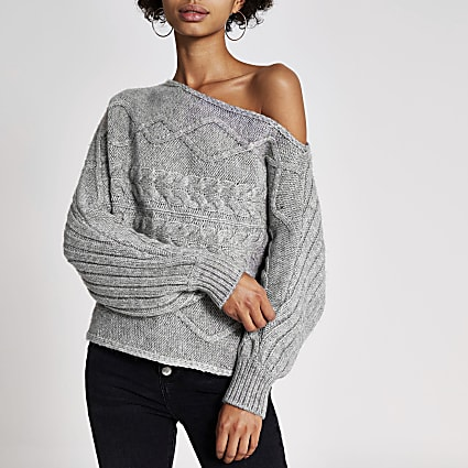 Grey asymmetric bardot cable knitted jumper