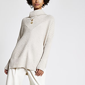 Light beige knitted rib roll neck jumper