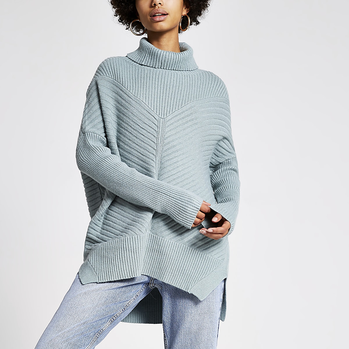 Light green knitted rib roll neck jumper
