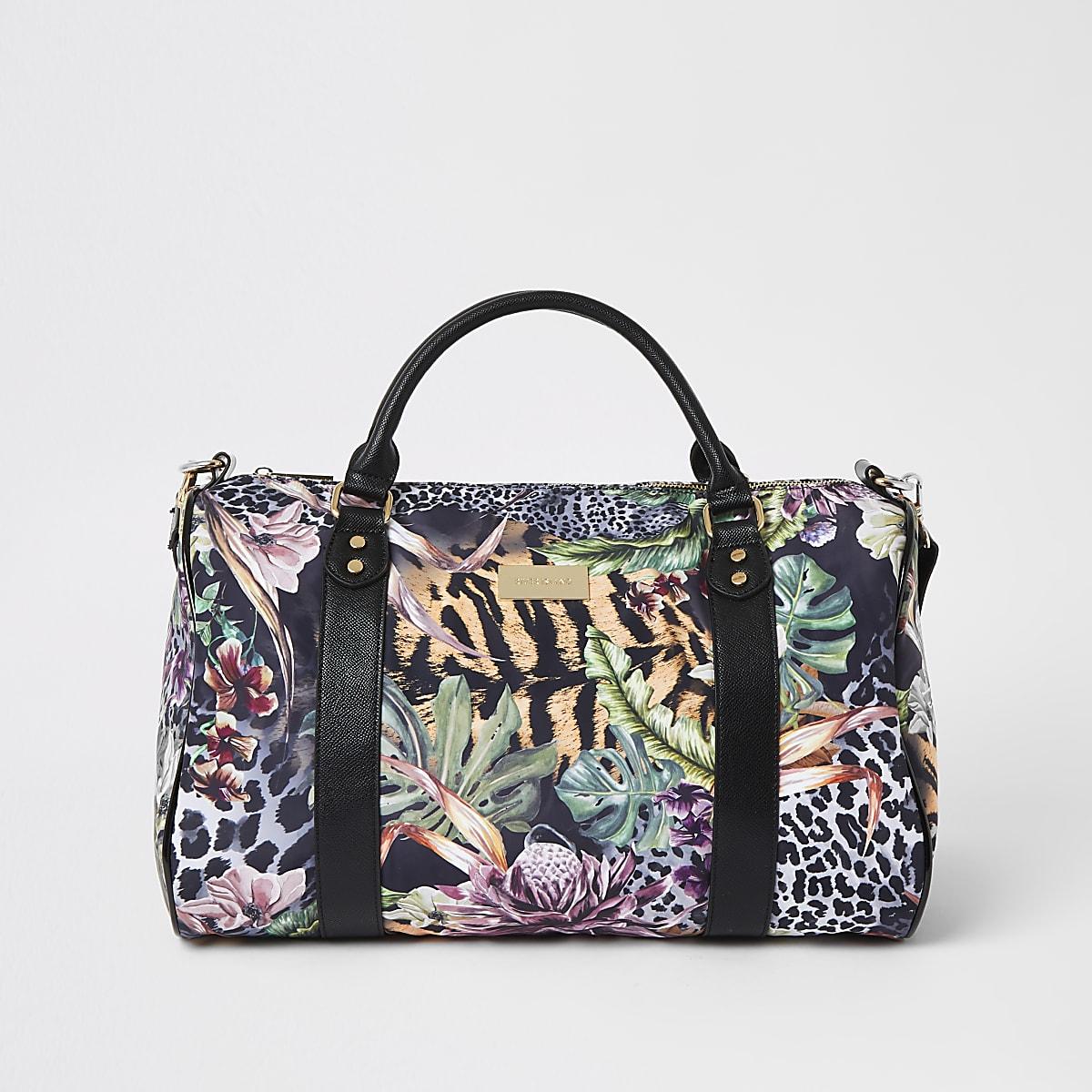 Khaki jungle print travel bag