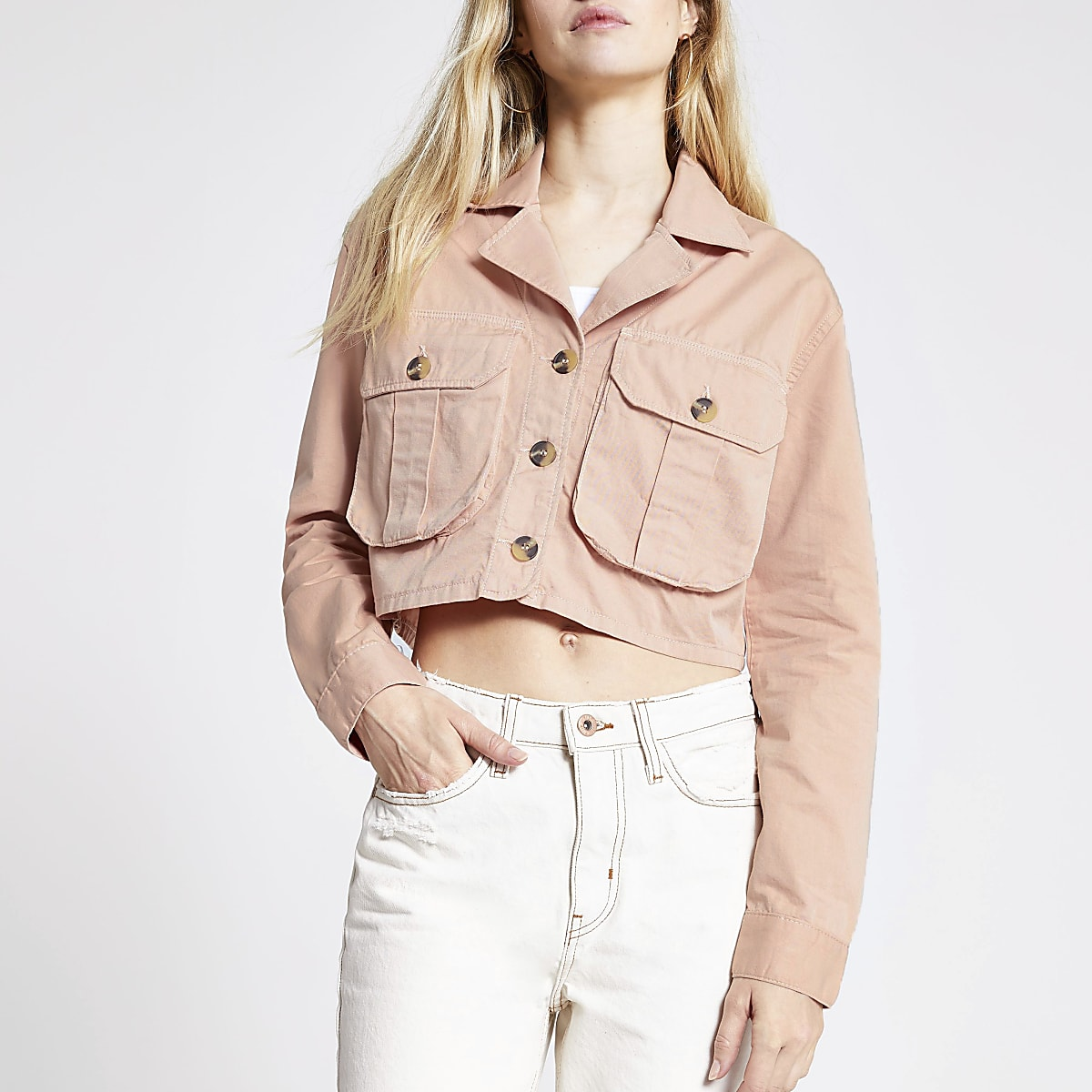 Pink cropped utility jacket
