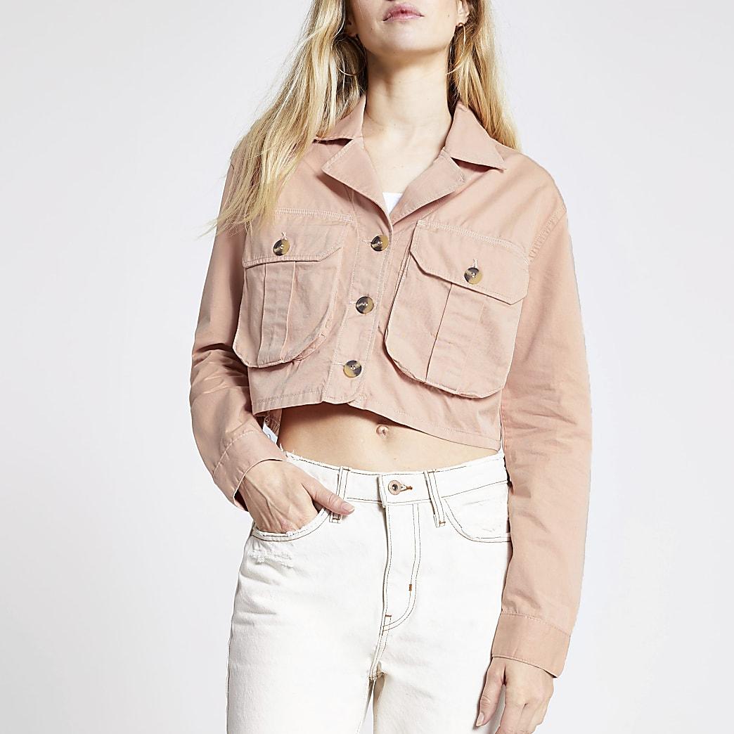 Pink cropped utility jacket