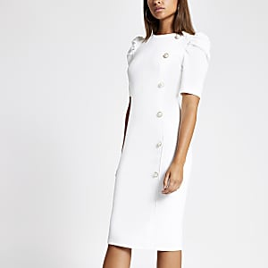 White ruched puff sleeve button front dress