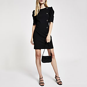 Black puff sleeve scuba mini dress