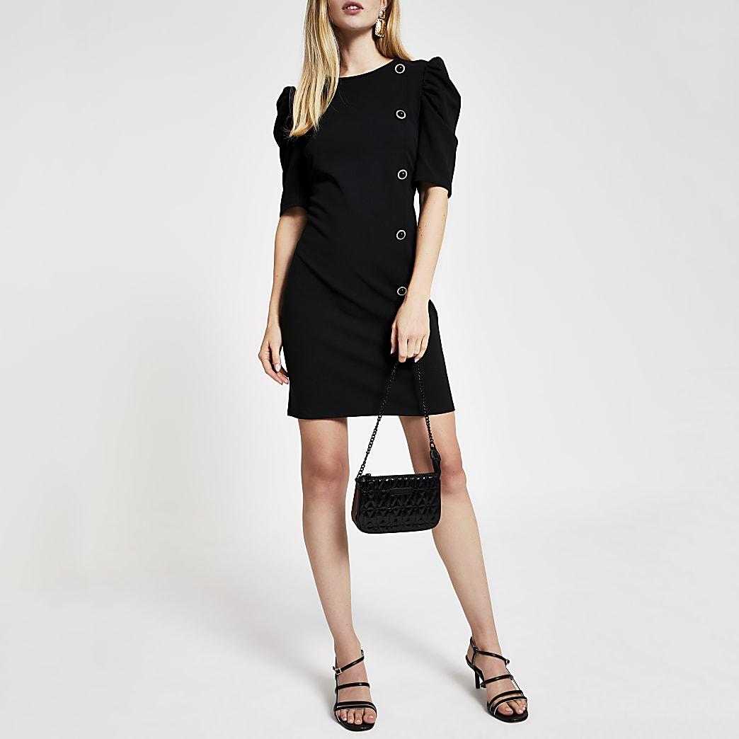 Zwarte scuba mini-jurk met pofmouwen