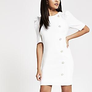 Witte mini-jurk met print en pofmouwen