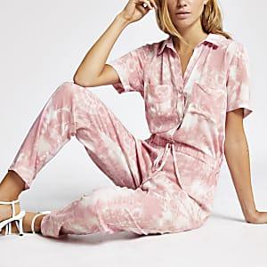 Roze bedrukte boiler jumpsuit met print