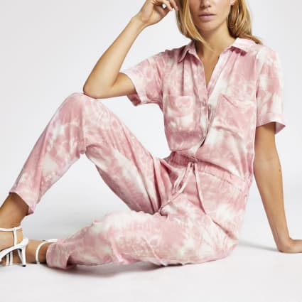 Pink print short sleeve boiler jumpsuit