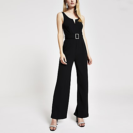 Black diamante embellished buckle jumpsuit