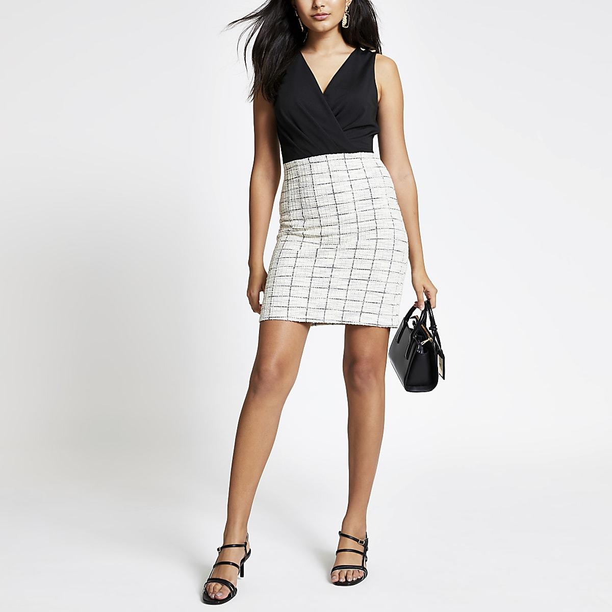 Black 2-in-1 boucle mini dress