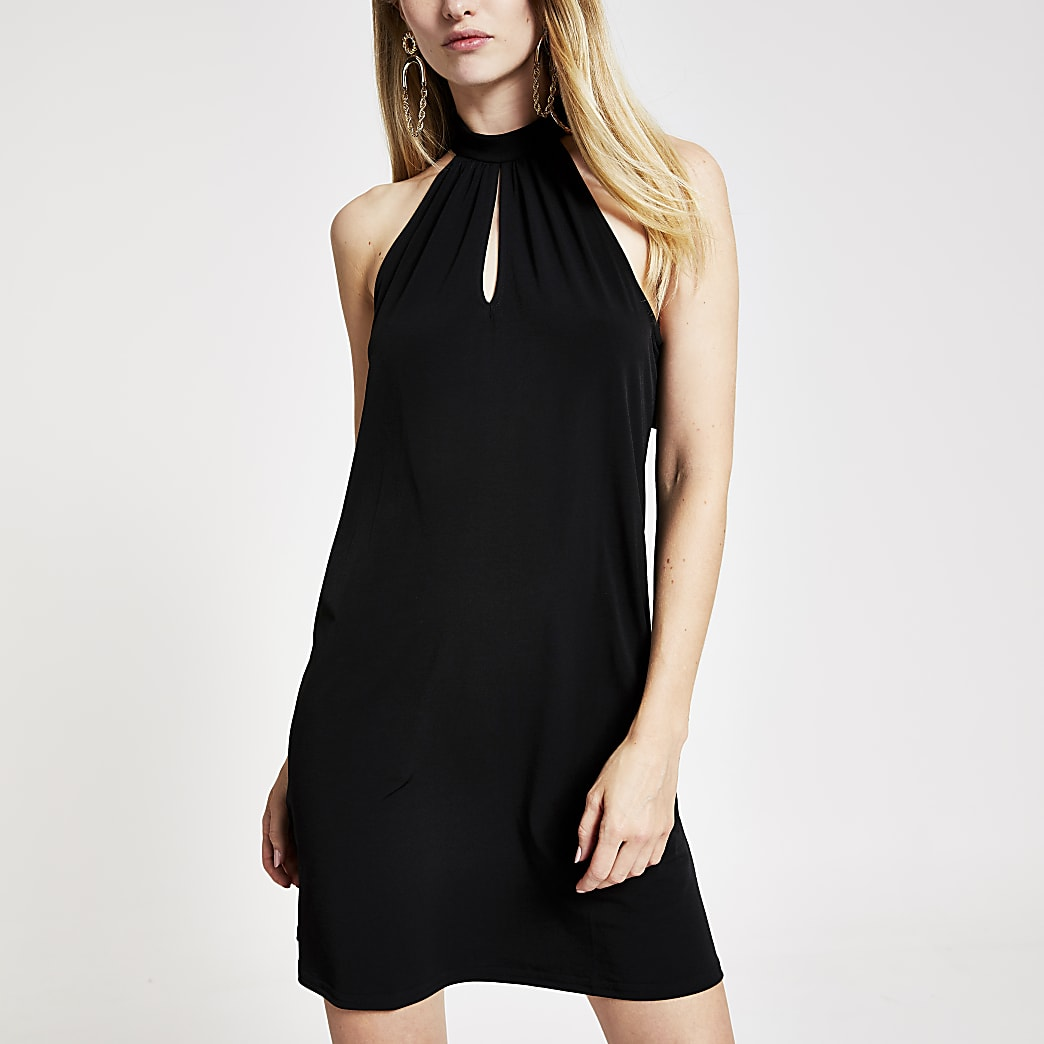 Black halter neck buckle swing dress