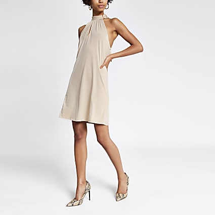 Beige halter neck buckle swing dress