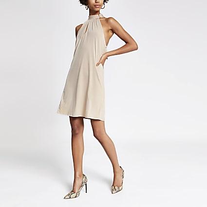 Beige halter neck buckle swing dress