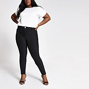 Plus – Schwarze Skinny Disco-Jeans mit hohem Bund