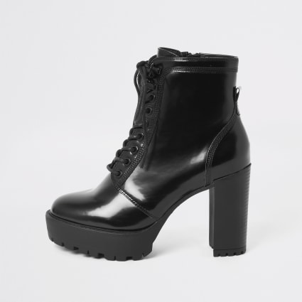 Black lace-up high heeled ankle boots