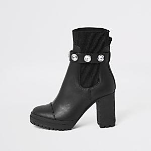 Zwarte sok-laarzen met verfraaid bandje