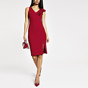 Red ruffle bodycon midi dress