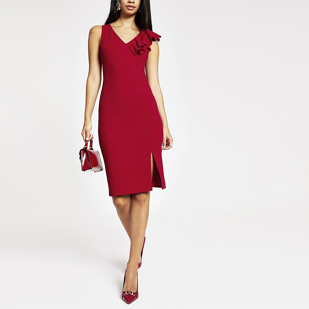 Red ruffle bodycon midi dress