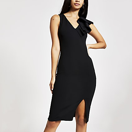 Black ruffle bodycon midi dress