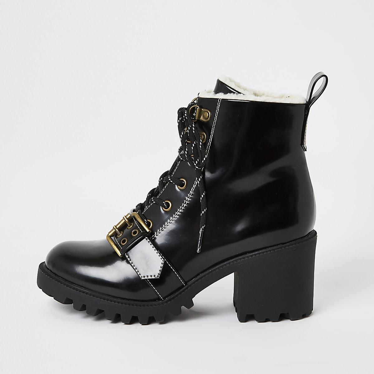 Black lace-up borg trim hiker boots