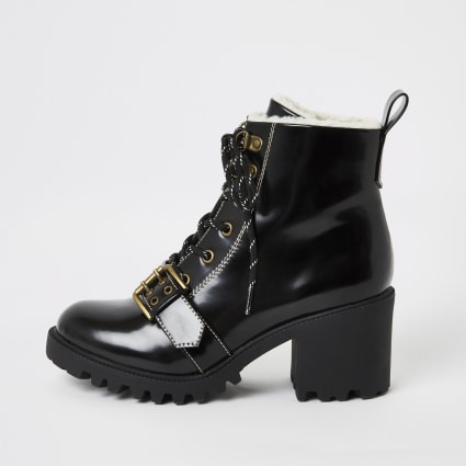 Black lace-up borg trim hiker boots