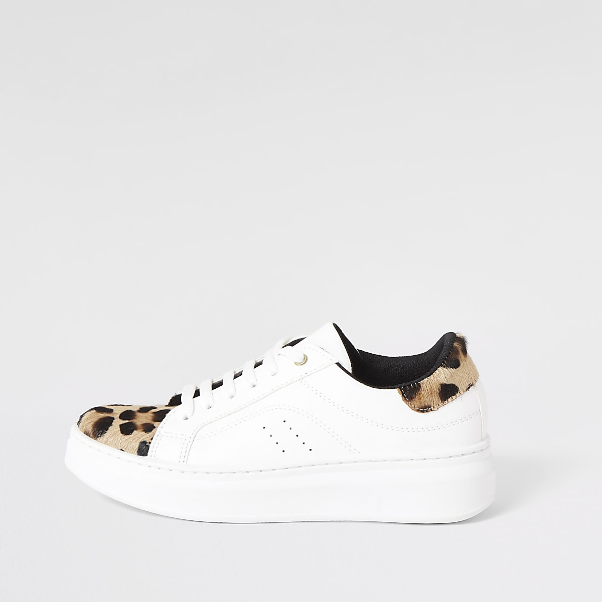 White leopard print lace-up trainers
