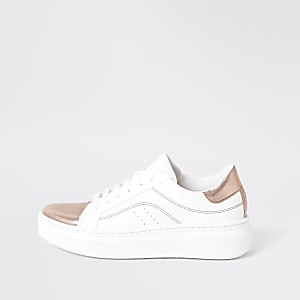 White metallic lace-up trainers