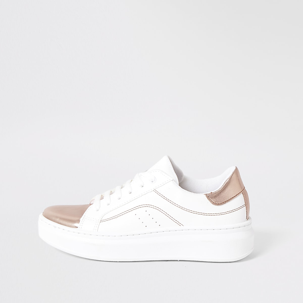 White metallic lace-up sneakers