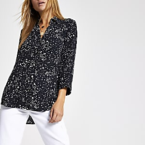 Black  print long sleeve shirt