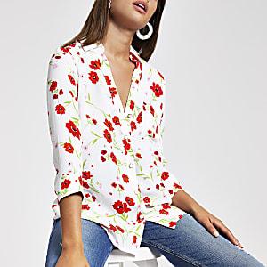 Chemise blanche à fleurs