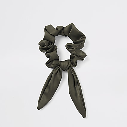 Khaki green bow scrunchie