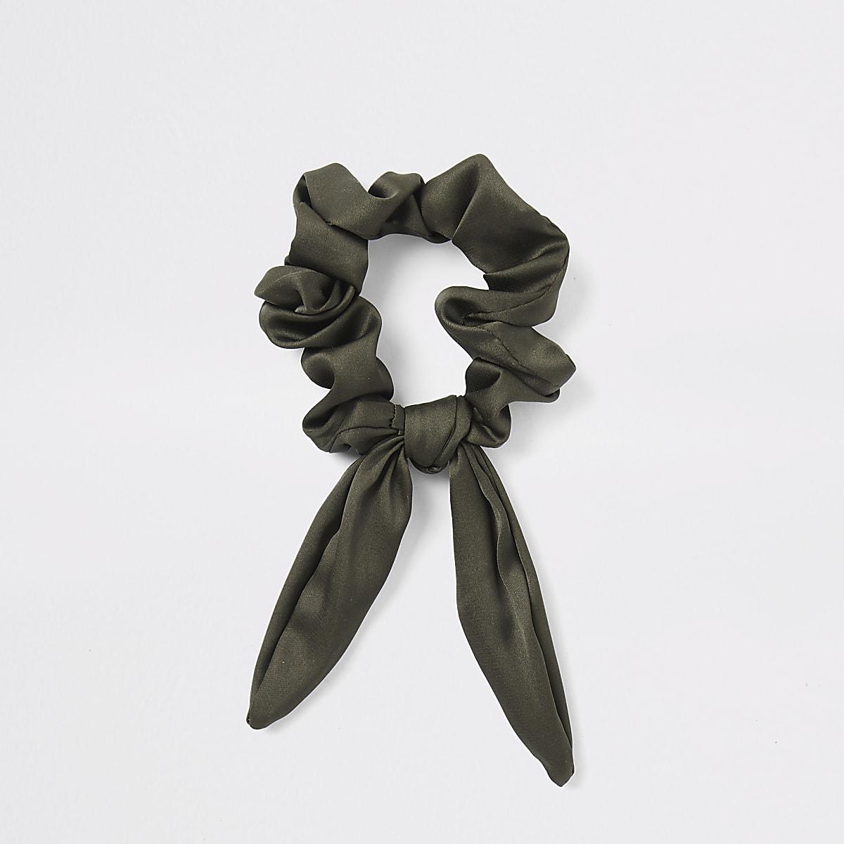 Khaki green bow scrunchie