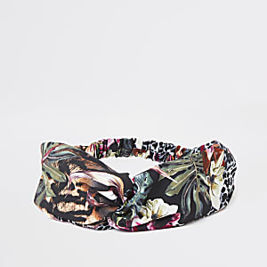 Green jungle print headband