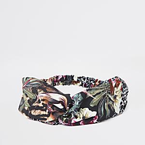 Green jungle print headband