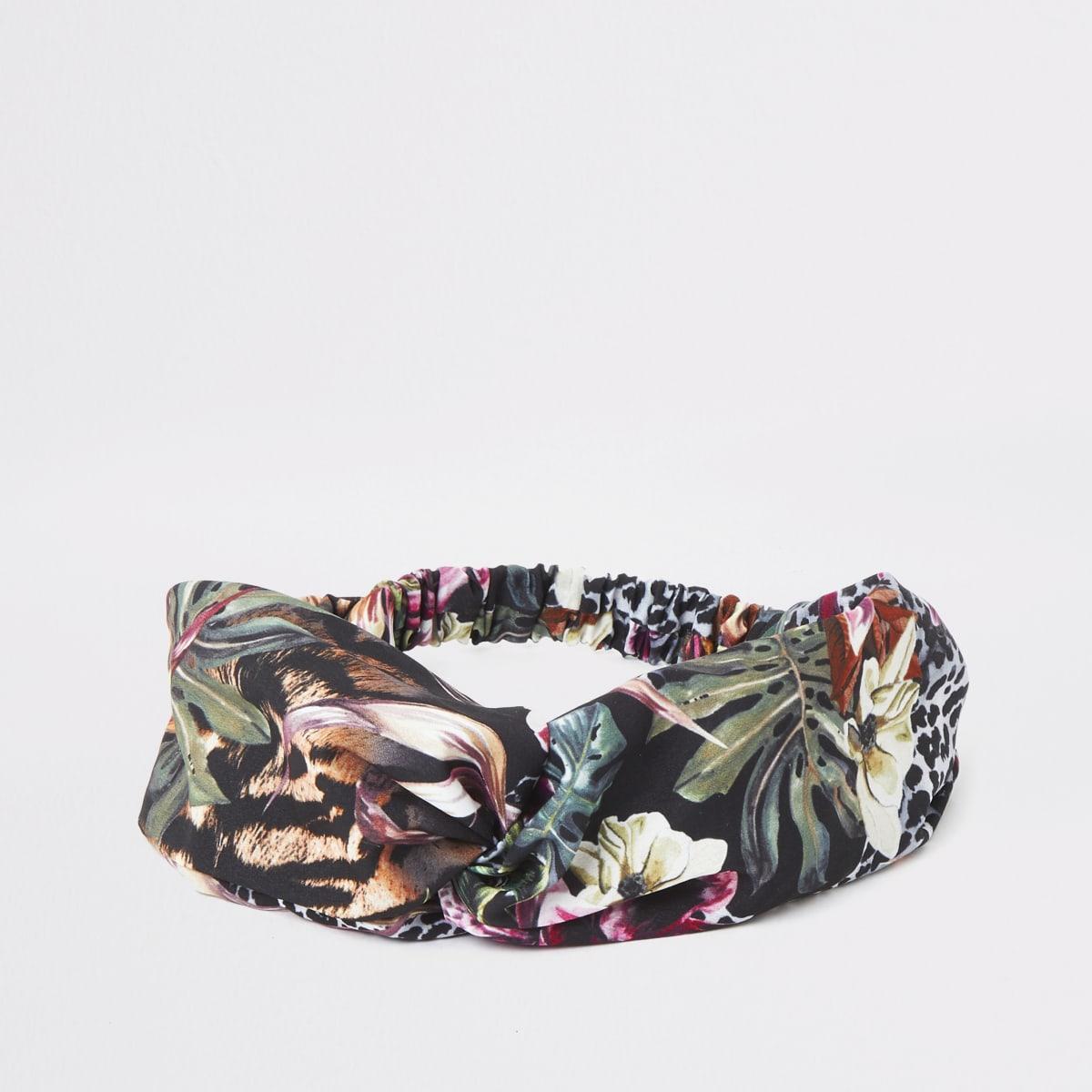 Groene hoofdband met jungleprint