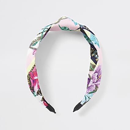 Pink floral print knot headband