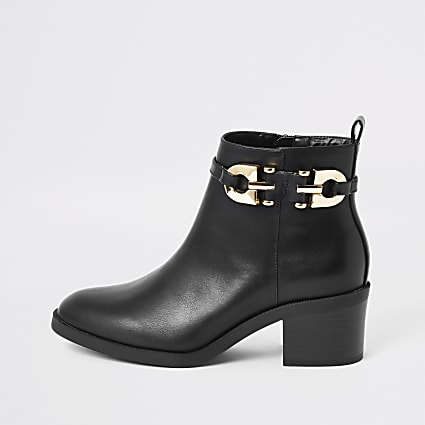 Black buckle strap heeled ankle boot