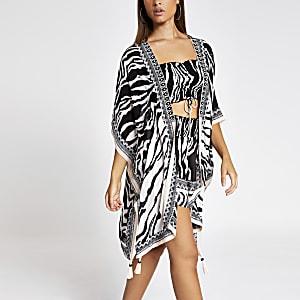 White zebra print embellished kaftan