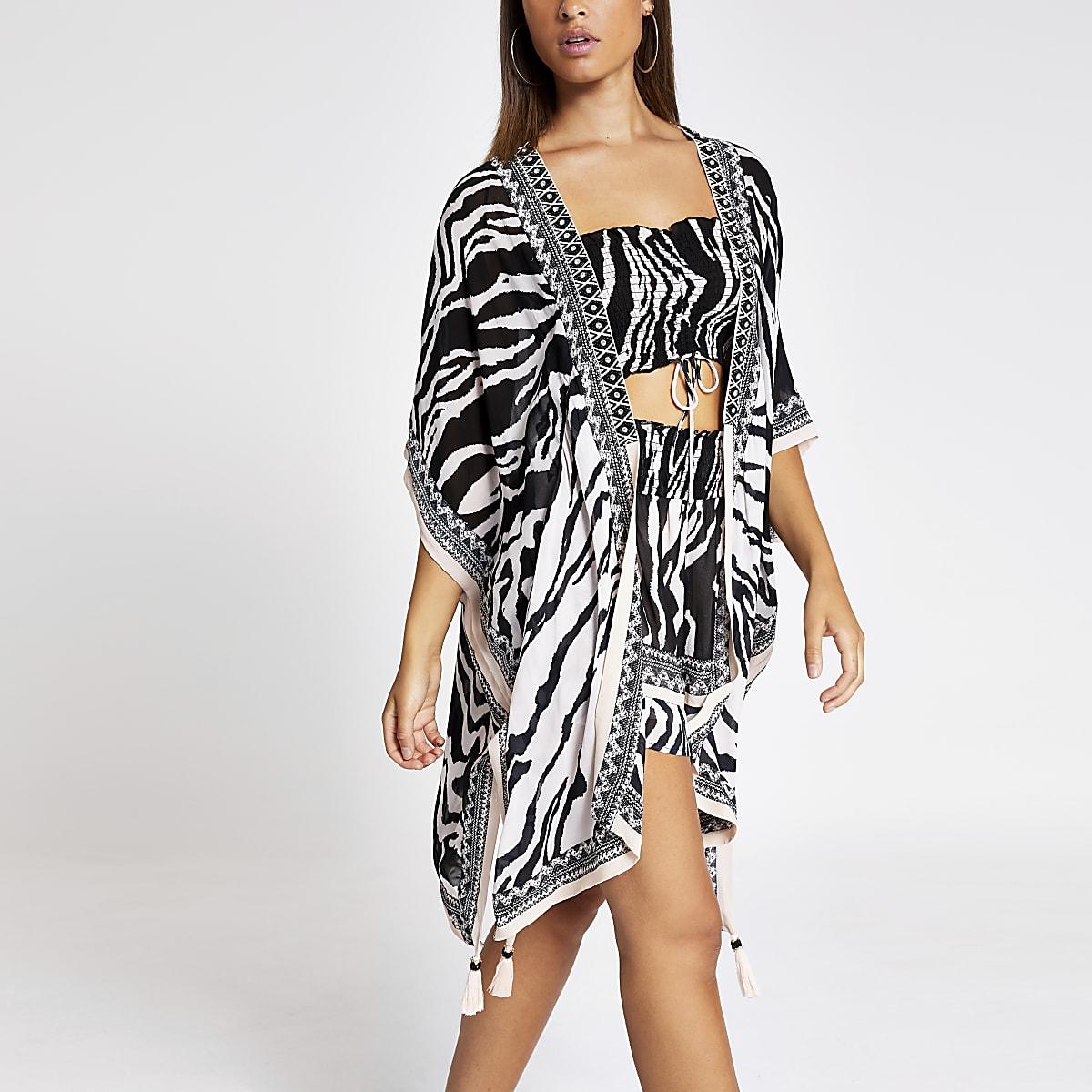 Witte versierde kaftan met zebraprint